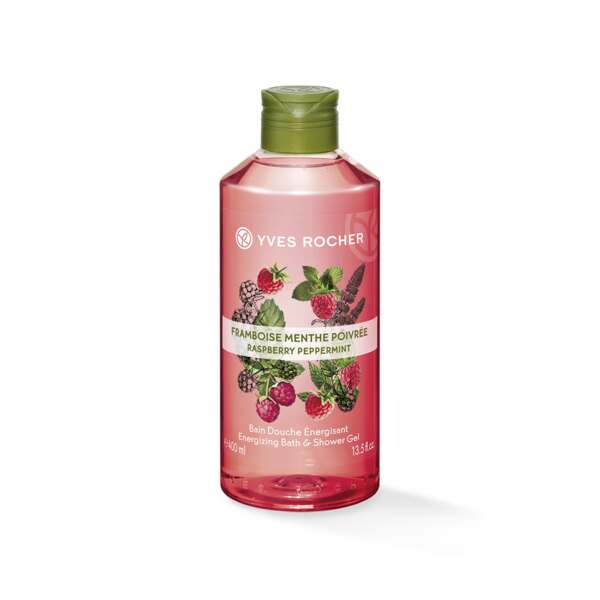 Energie - Bad- en Douchegel Framboos & Munt 400 ml, Les Plaisirs Nature, Flacon 400 ml, Fruitige douchegels, Lichaamsverzorging