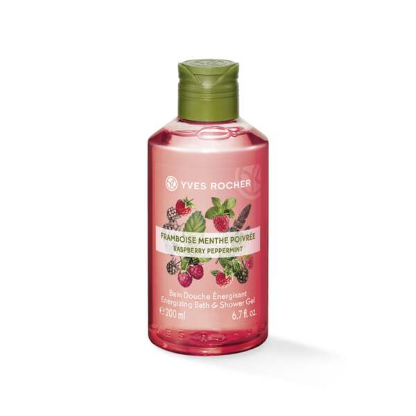 Energie - Bad- en Douchegel Framboos & Munt 200 ml, Les Plaisirs Nature, Flacon 200 ml, Fruitige douchegels, Lichaamsverzorging