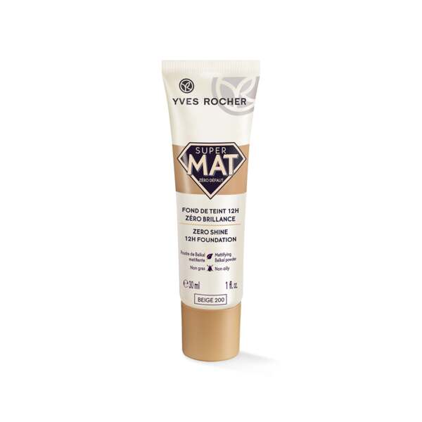 Super Mat 12H foundation Zero Shine, tube 30 ml, Foundation, Yves Rocher